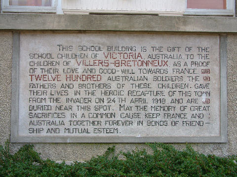 The plaque on the village school